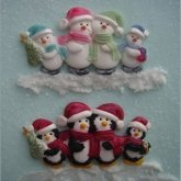 Karen Davies Siliconen Mould Snowman/Pinguin Family