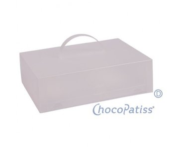ChocoPatiss Oblong Cake Box met dubbele bodem 37x25x11cm, mat