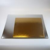 Taartkartons zilver/goud vierkant 30 cm., 3 stuks
