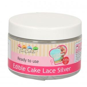 Funcakes Edible Cake Lace, Silver 120 gr.