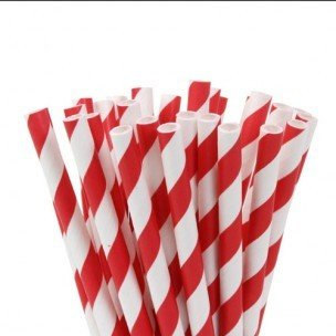 House of Marie Cake Pops Straws, Stripes Red 20st