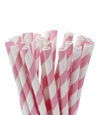 House of Marie Cake Pops Straws, Stripe Soft Pink 20st