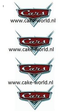 Cars logo taartprints 7 cm hoog/ 4st.