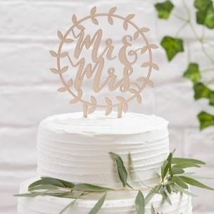 Ginger Ray Wooden Cake Topper, Mr & Mrs