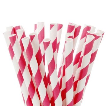 House of Marie Cake Pops Straws -Stripes Fuchsia Roze- pk/20