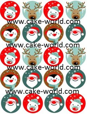 Kerst Cupcake prints, 20st.