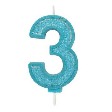 Culpitt Glitter Candle Blue Number 3