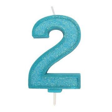 Culpitt Glitter Candle Blue Number 2
