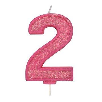 Culpitt Glitter Candle Pink Number 2