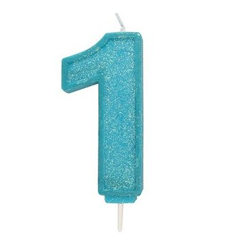 Culpitt Glitter Candle Blue Number 1