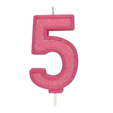 Culpitt Glitter Candle Roze Number 5