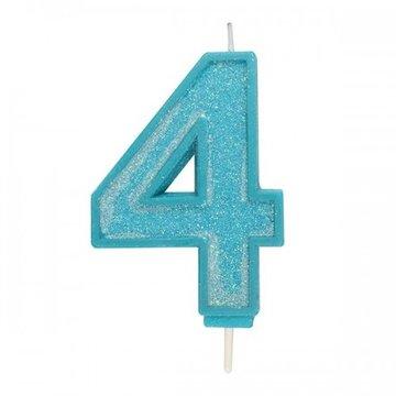 Culpitt Glitter Candle Blue Number 4