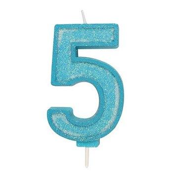 Culpitt Glitter Candle Blue Number 5