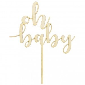 PartyDeco Taarttopper Hout Oh Baby