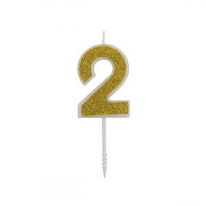 Cijferkaars Glitter Goud nr.2