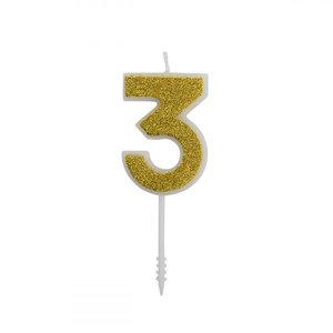 Cijferkaars Glitter Goud nr.3