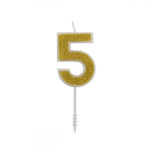 Cijferkaars Glitter Goud nr.5