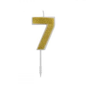 Cijferkaars Glitter Goud nr.7