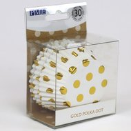 PME Foil Baking Cups Polka Dot Gold 30st.