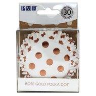PME Foil Baking Cups Polka Dot Rose Gold 30st.
