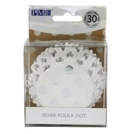 PME Foil Baking Cups Polka Dot Silver 30st.