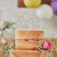 Ginger Ray Wooden Cake Topper, Happy Birthday